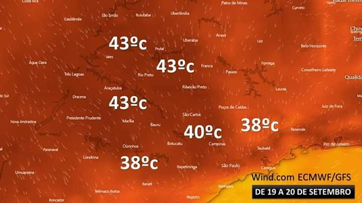FB IMG 1568389790820 - Próxima semana deve registrar temperaturas de até 43°C no interior paulista
