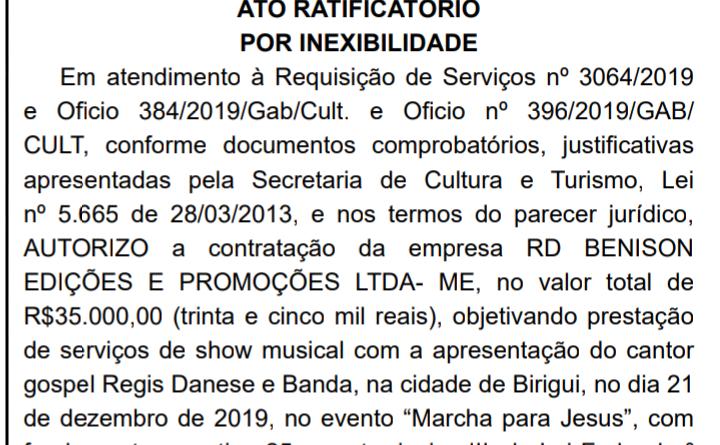IMG 20191211 225206 720x445 - Prefeitura de Birigui paga R$ 35 mil para contratar cantor gospel