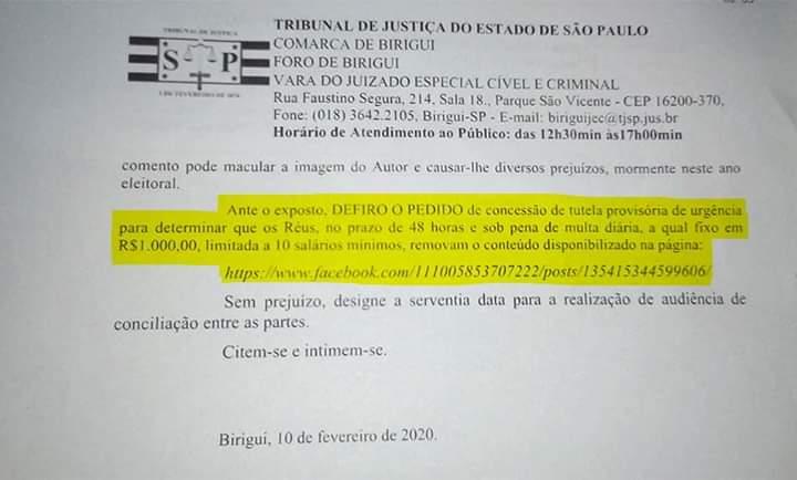 FB IMG 1581453641724 - Justiça de Birigui determina retira de publicação contra Salmeirão