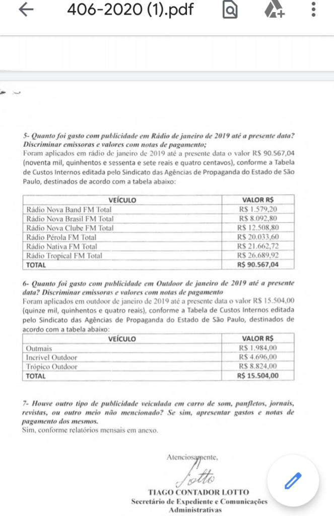 IMG 20200313 231553 663x1024 - Prefeitura de Birigui gasta mais de R$ 800 mil em publicidade