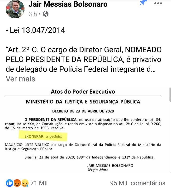"""IMG 20200424 174328 - Presidente mente em publicação do Diário Oficial: """"Não assinei exoneração"""" diz Sérgio Moro"""