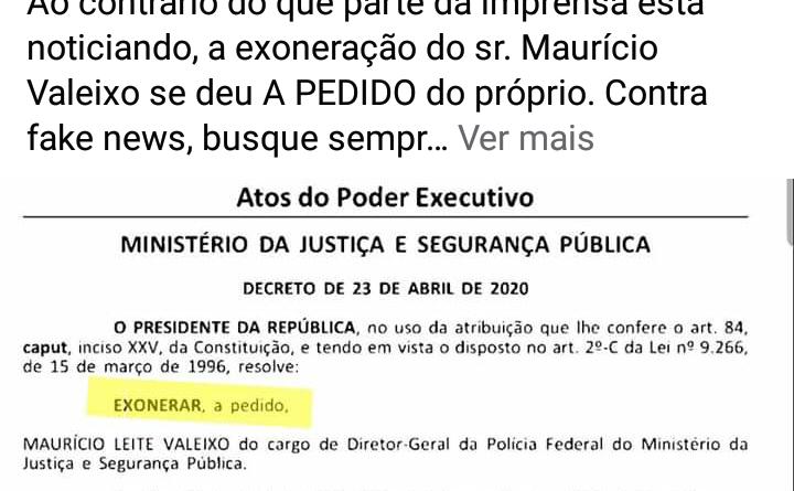 """IMG 20200424 174413 720x445 - Presidente mente em publicação do Diário Oficial: """"Não assinei exoneração"""" diz Sérgio Moro"""