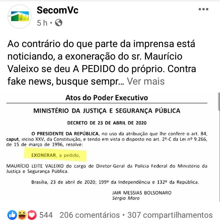 """IMG 20200424 174413 - Presidente mente em publicação do Diário Oficial: """"Não assinei exoneração"""" diz Sérgio Moro"""