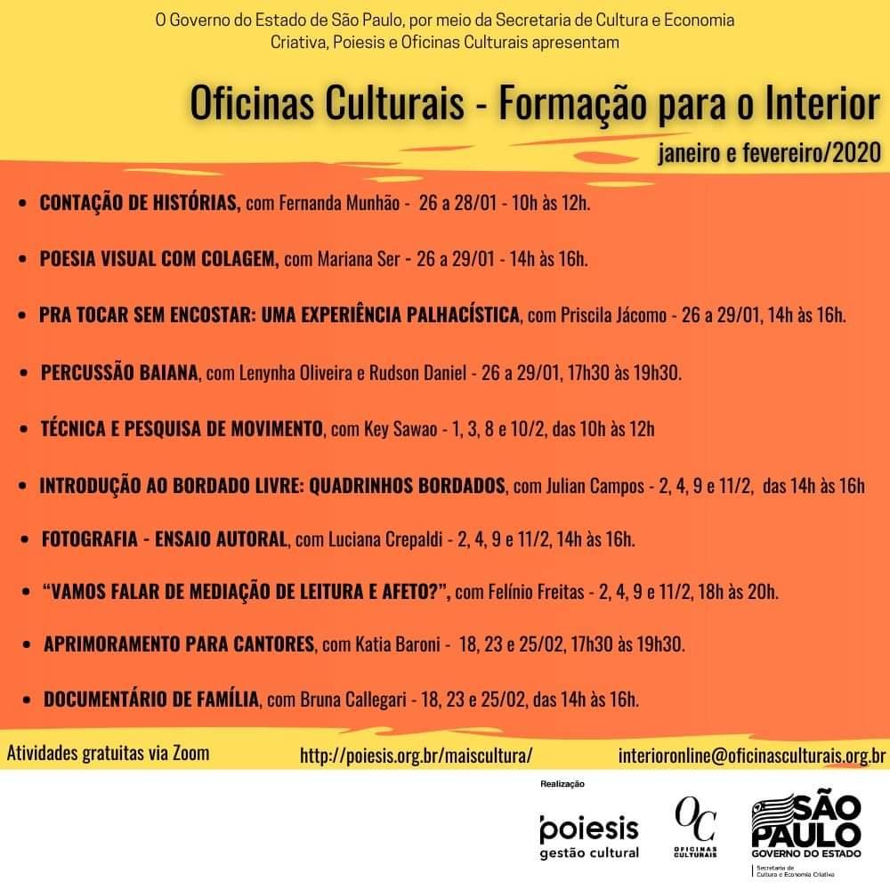 FB IMG 1610816634901 - Projeto de Oficinas Culturais está com inscrições abertas