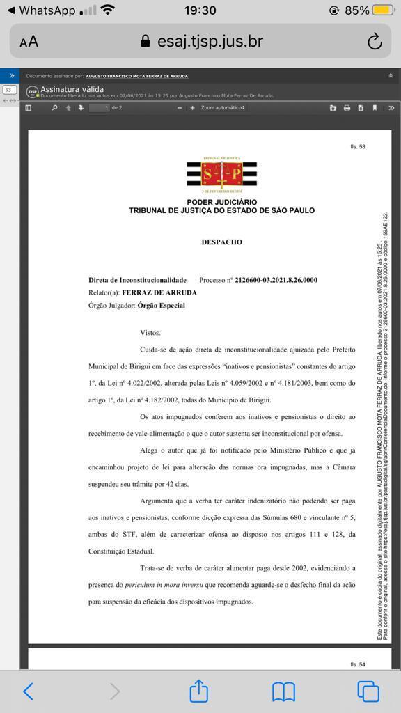 IMG 20210607 WA0110 - Juiz nega liminar a Prefeitura de Birigui e mantém pagamento de ticket refeição a servidores aposentados e pensionistas