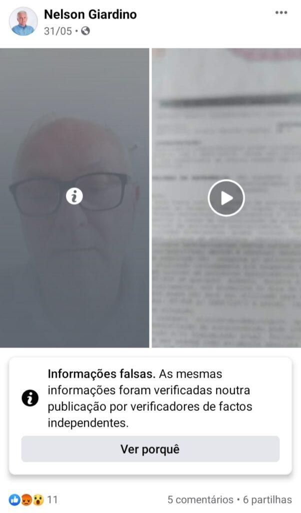 """Screenshot 20210612 233401 Facebook 602x1024 - Ex secretário da SEDECTI de Birigui propaga """"FAKE NEWS"""" sobre eficácia da Coronavac e é desmentido por verificadores de fatos"""