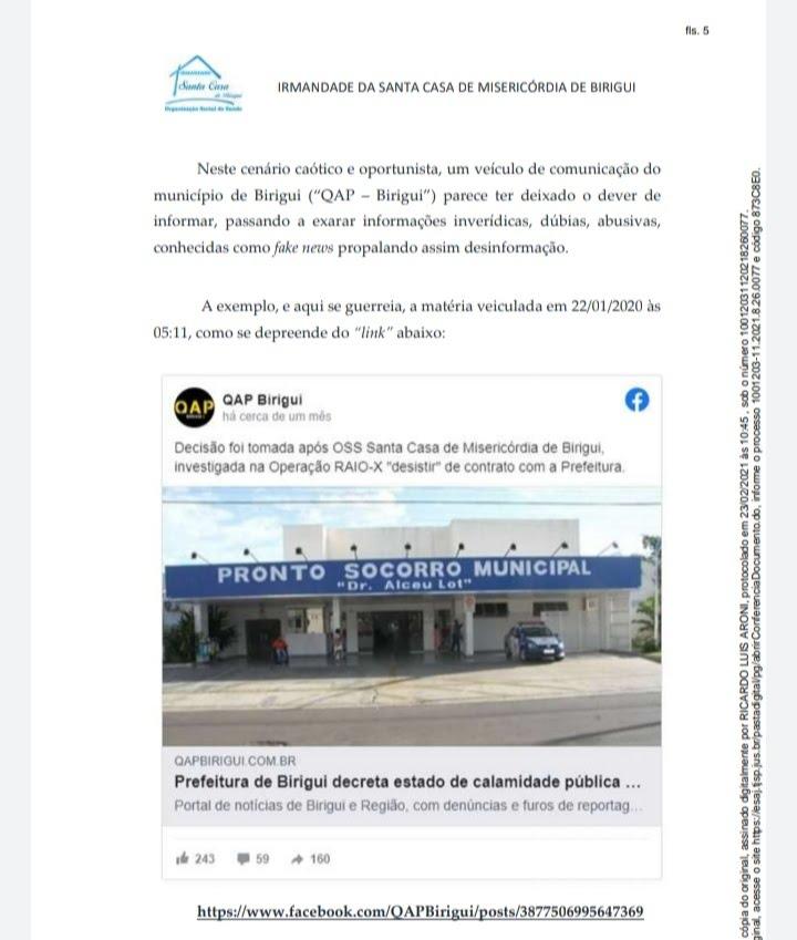 20210409 162126 - TJ-SP mantém decisão e Santa Casa de Birigui perde ação contra site de jornalismo